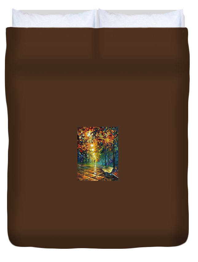 Afremov Duvet Cover featuring the painting Misty Park by Leonid Afremov