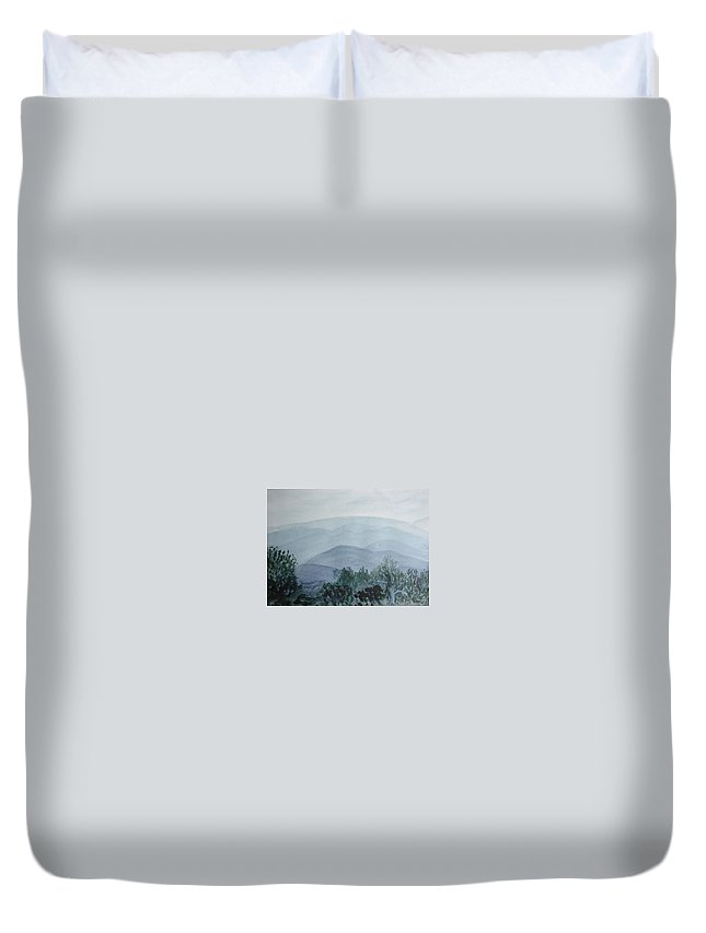 Misty Duvet Cover featuring the painting Misty Shenandoah by Donna Walsh