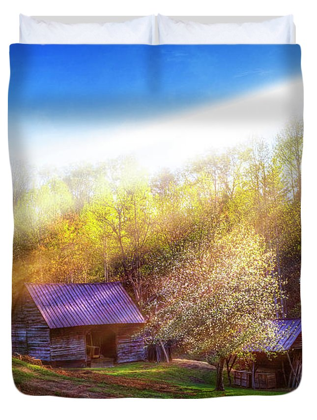 Appalachia Duvet Cover featuring the photograph Misty Spring Morning by Debra and Dave Vanderlaan