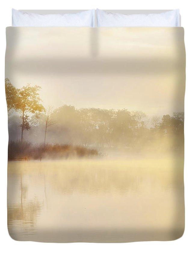 Loch Ard Duvet Cover featuring the photograph Misty Sunrise Loch Ard by Janet Burdon