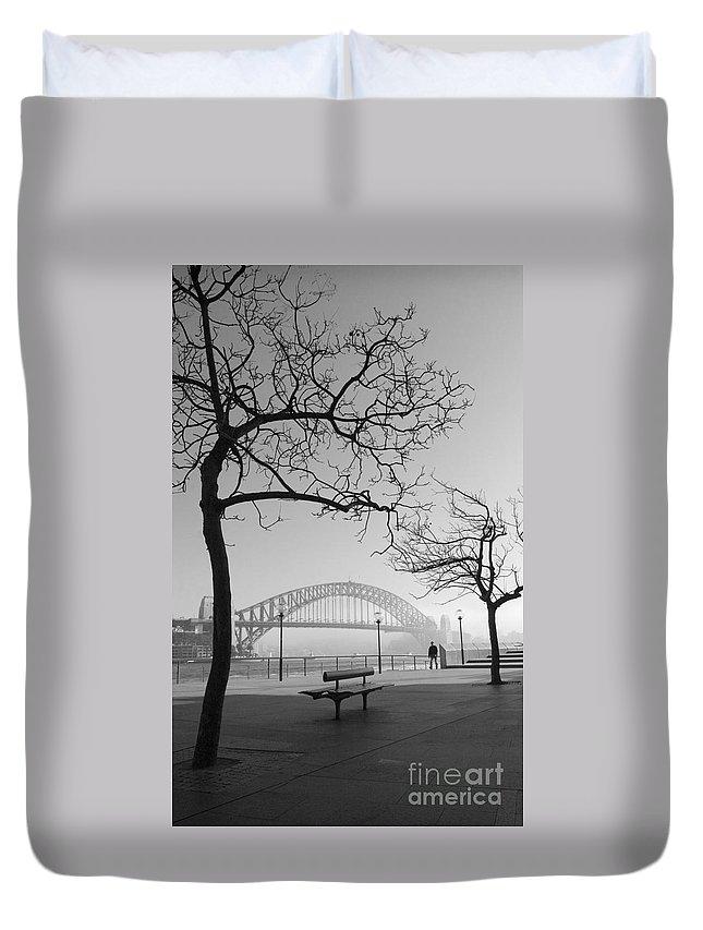 Sydney Harbour Bridge Mist Australia Duvet Cover featuring the photograph Misty Sydney Morning by Sheila Smart Fine Art Photography