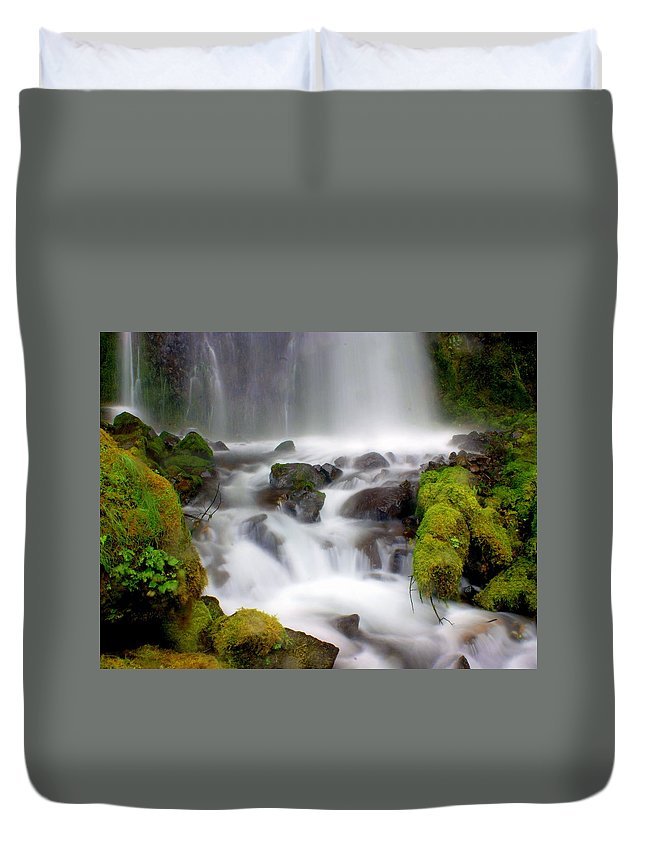 Waterfall Duvet Cover featuring the photograph Misty Waters by Marty Koch