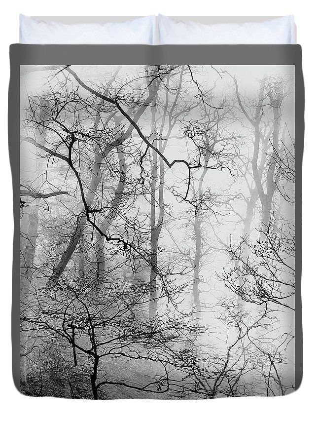 Duvet Cover featuring the photograph Misty Woods, Whitley Mill by Iain Duncan