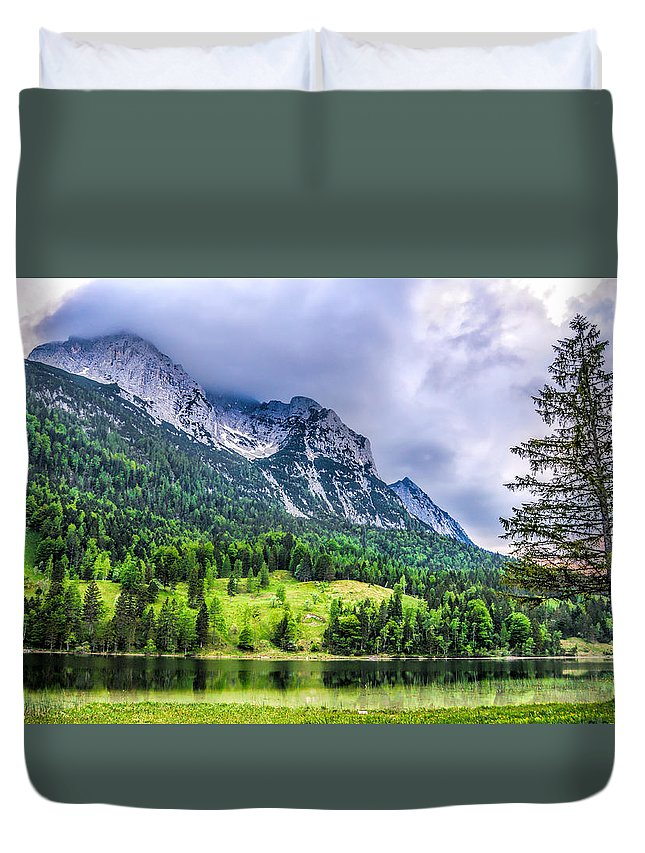 Land Landscapes Nature Parks Water Trees Duvet Cover featuring the photograph Mittenwald by LOsorio Photography