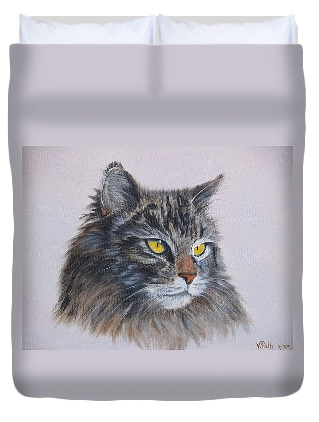 Painting Duvet Cover featuring the painting Mitze Maine Coon Cat by Vicky Path