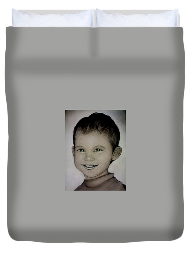 Portrait Duvet Cover featuring the drawing Mixalis by Catt Kyriacou