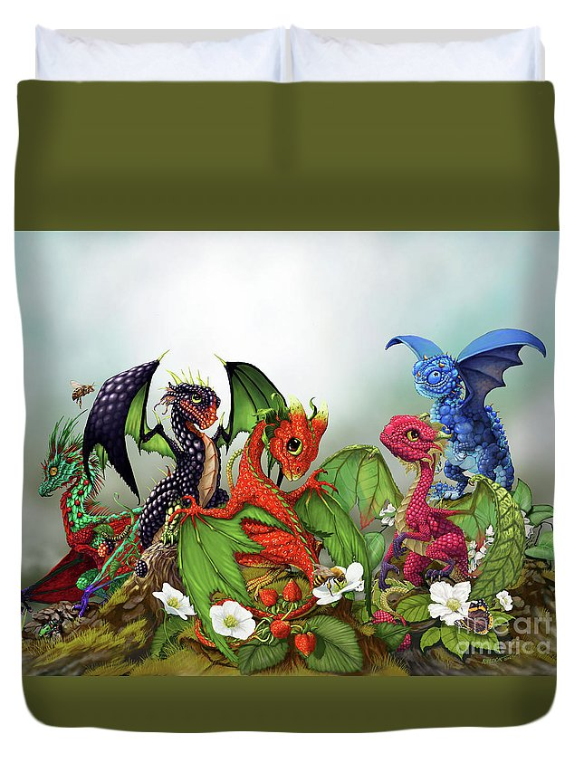 Dragons Duvet Cover featuring the digital art Mixed Berries Dragons by Stanley Morrison