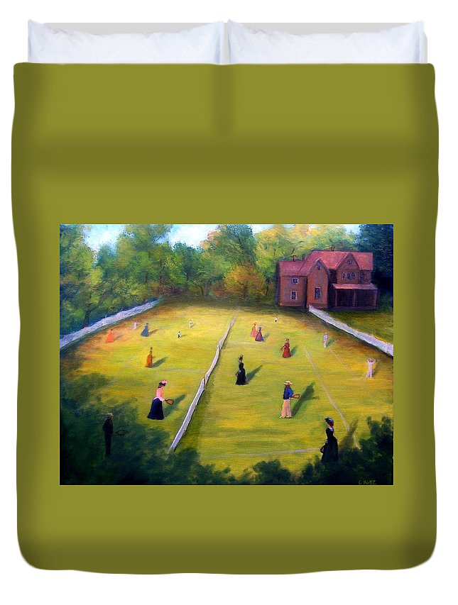 Tennis Art Duvet Cover featuring the painting Mixed Doubles by Gail Kirtz
