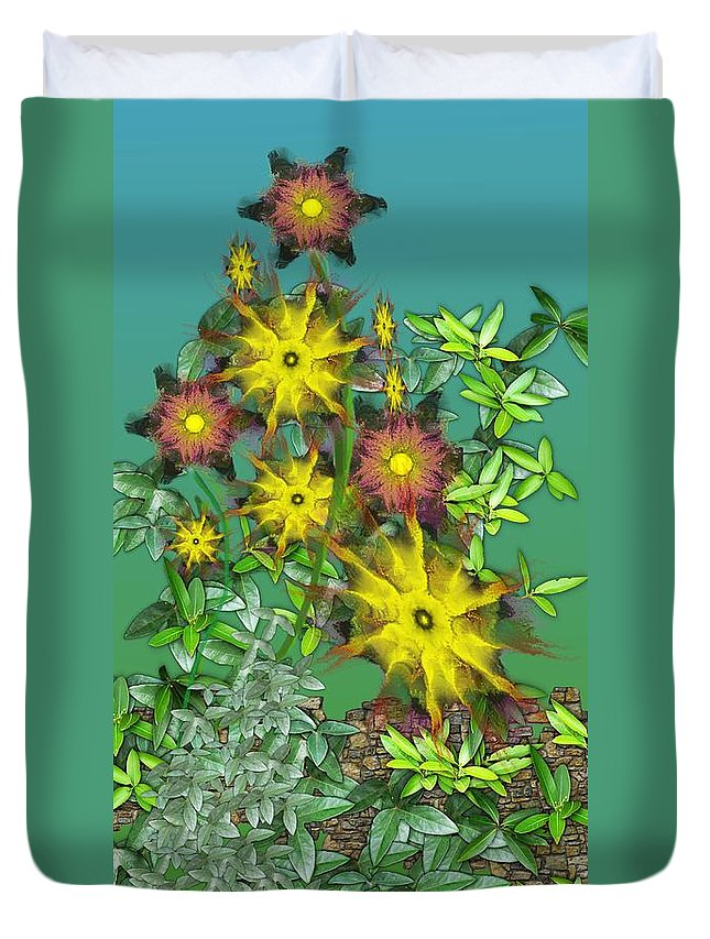 Flowers Duvet Cover featuring the digital art Mixed Flowers by David Lane