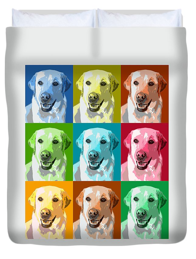 Americana Duvet Cover featuring the photograph Golden Retriever Warhol by Marilyn Hunt