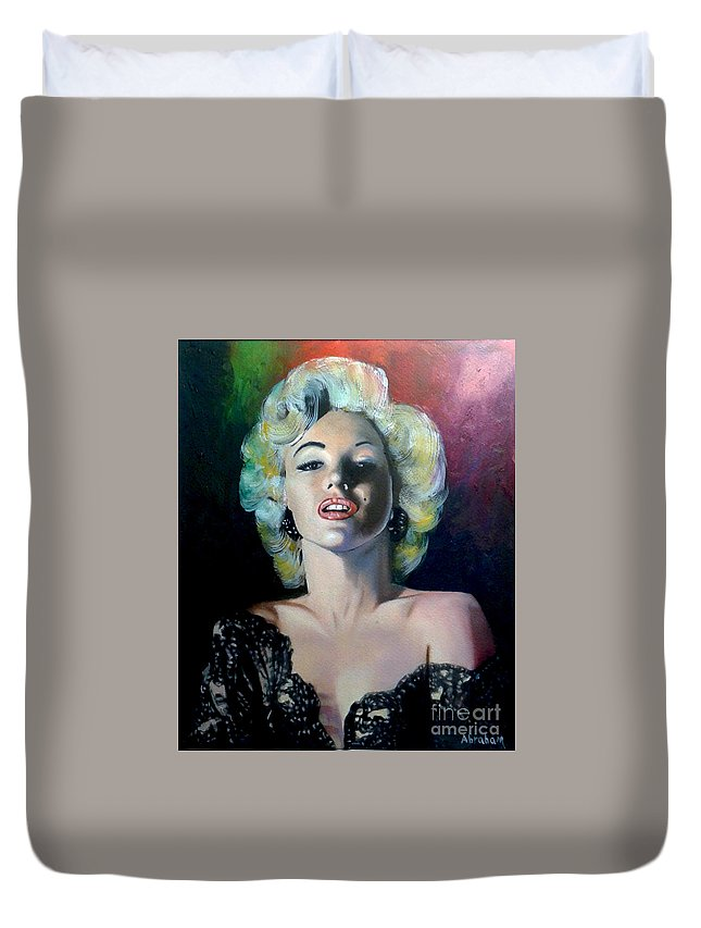 M Monroe Duvet Cover featuring the painting M.Monroe 3 by Jose Manuel Abraham