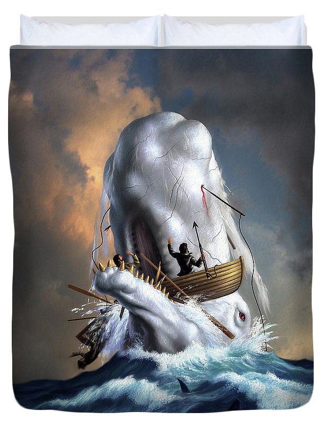 Moby Dick Duvet Cover featuring the digital art Moby Dick 1 by Jerry LoFaro