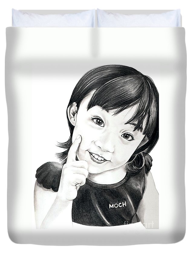 Pencil Duvet Cover featuring the drawing Moch by Murphy Elliott