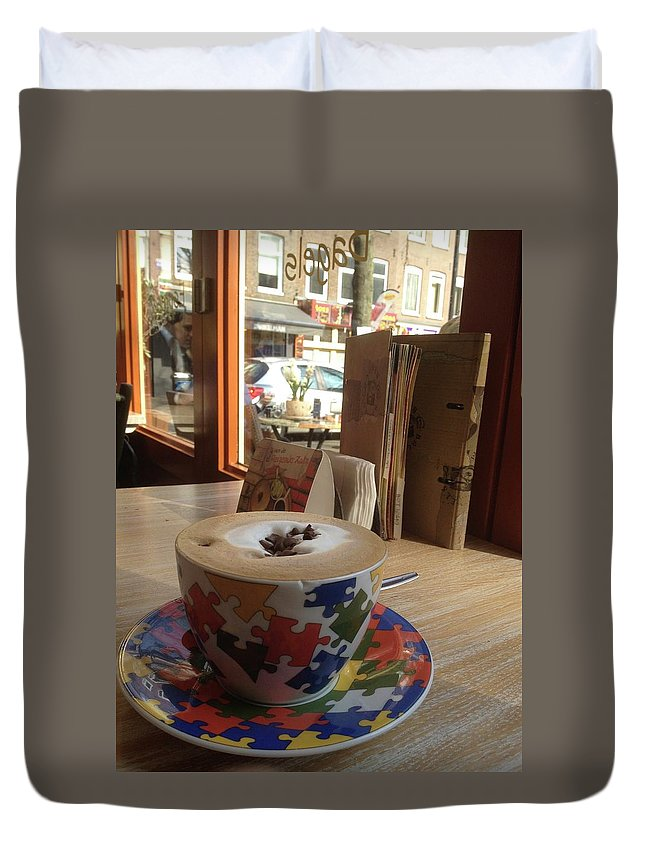 Cafe Duvet Cover featuring the photograph Mocha by Kat Cortez