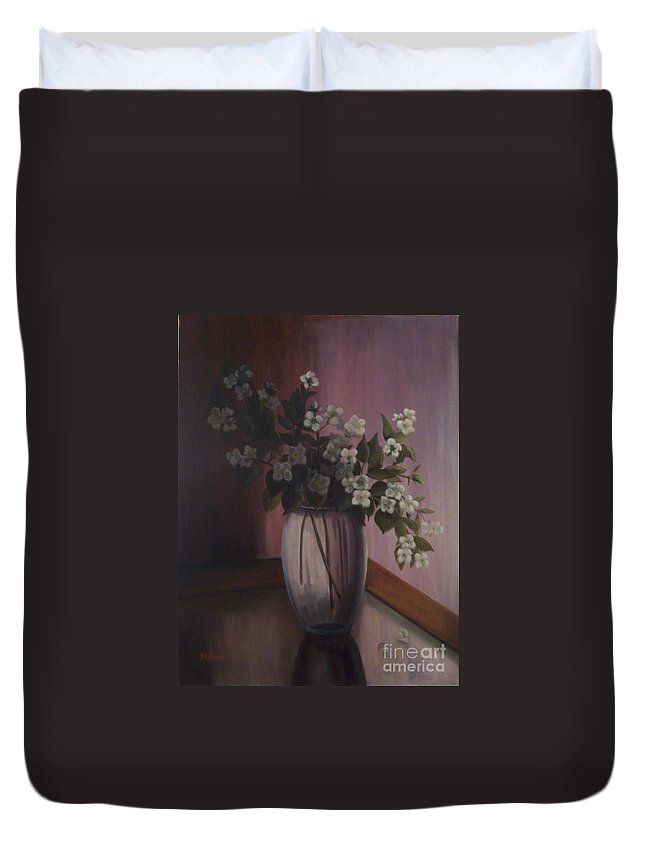 Still Life Duvet Cover featuring the painting Mock Orange Blossoms by Marlene Book