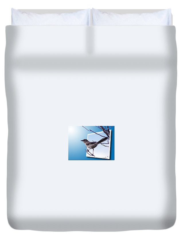 2d Duvet Cover featuring the photograph Mockingbird Branch by Brian Wallace