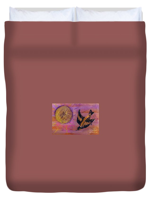Bird Duvet Cover featuring the mixed media Mockingbird by Desiree Paquette