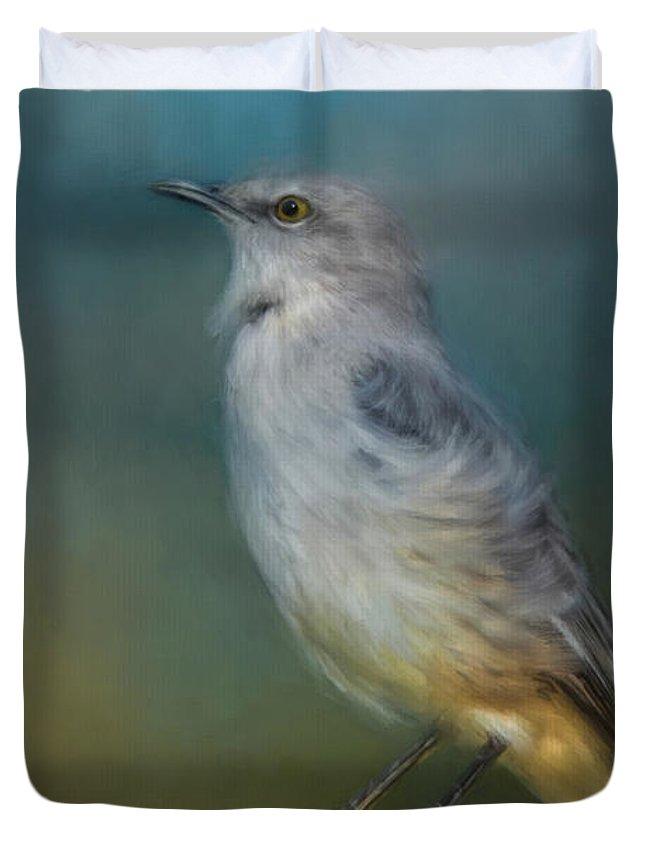 Jai Johnson Duvet Cover featuring the painting Mockingbird On A Windy Day by Jai Johnson
