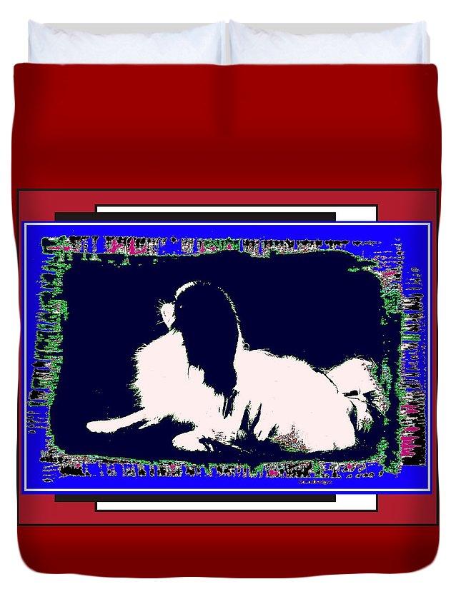 Mod Dog Duvet Cover featuring the digital art Mod Dog by Kathleen Sepulveda