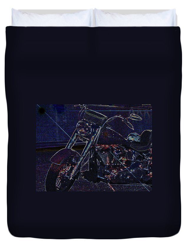 Motorcycle Duvet Cover featuring the photograph Mod-orcycle by Gary Adkins