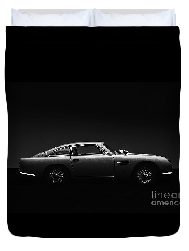 Aston Martin Db5 Duvet Cover featuring the photograph Model Aston Martin Db5 Low Key by Simon Bradfield