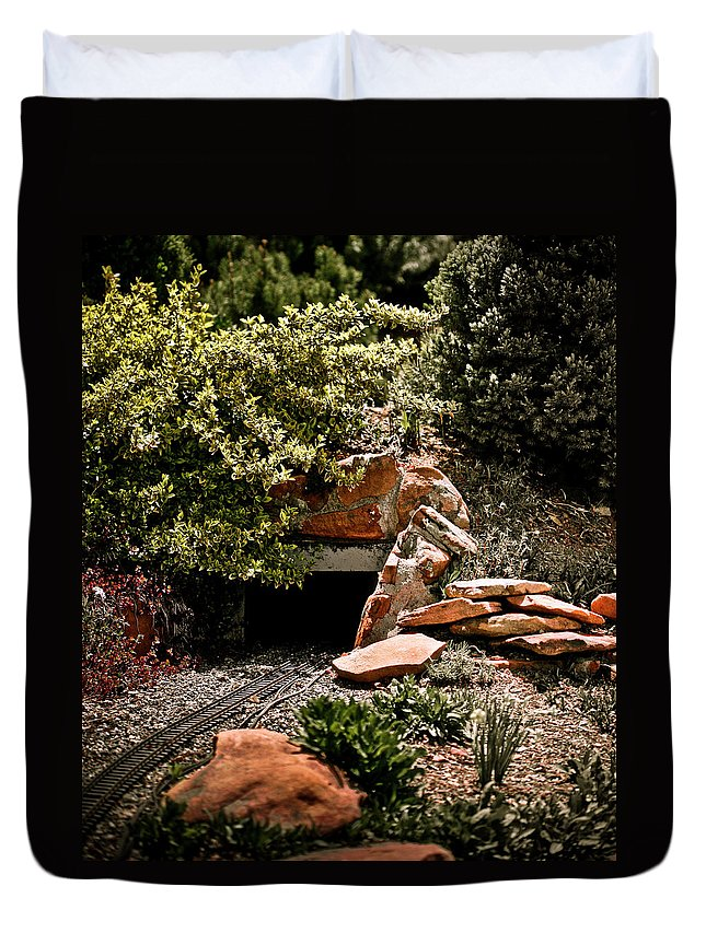 Train Duvet Cover featuring the photograph Model Train Tunnel by Marilyn Hunt