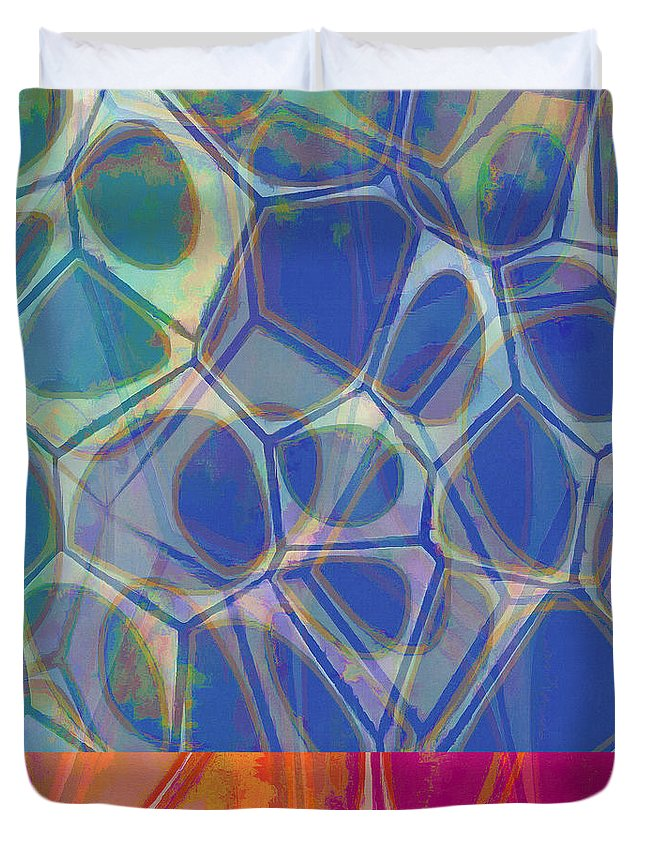 Square Duvet Cover featuring the painting Modern Abstract Painting One by Elizabeth Fielding