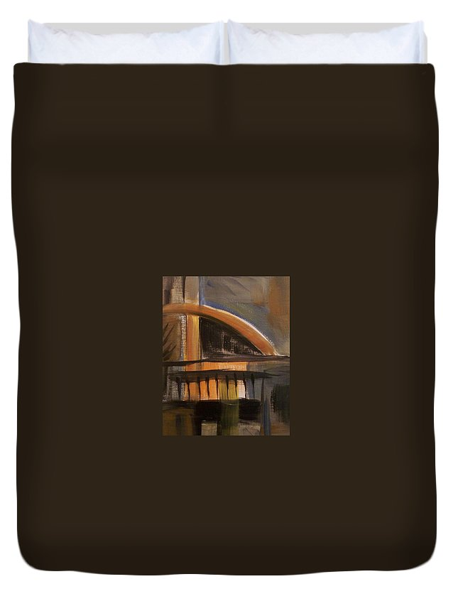 Abstract Duvet Cover featuring the painting Modern Architecure 2 by Anita Burgermeister