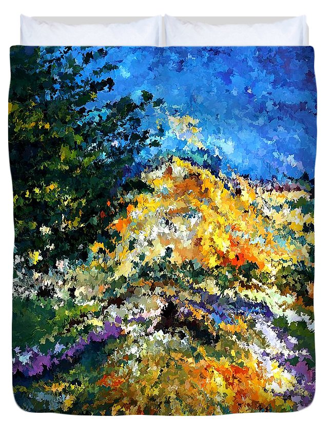 Contemporary Duvet Cover featuring the painting Modern Composition 08 by Rafi Talby