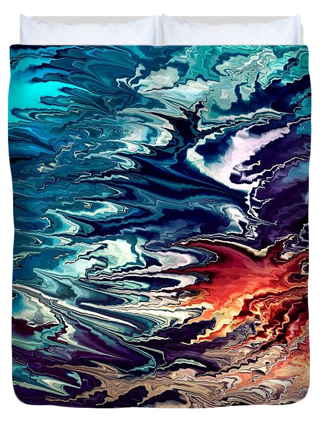 Contemporary Duvet Cover featuring the painting Modern composition 32 by Rafi Talby