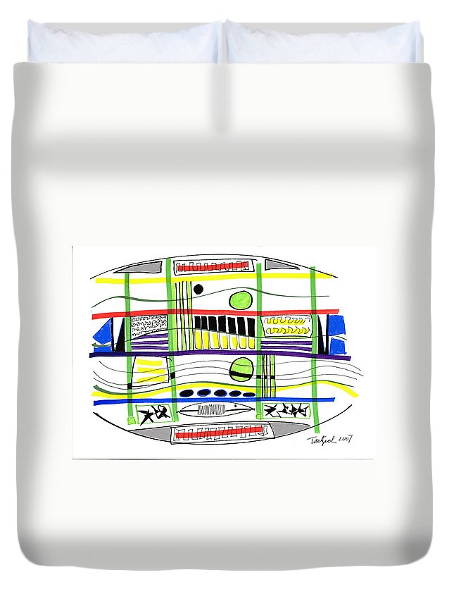 Modern Drawing Duvet Cover featuring the drawing Modern Drawing Fifteen by Lynne Taetzsch