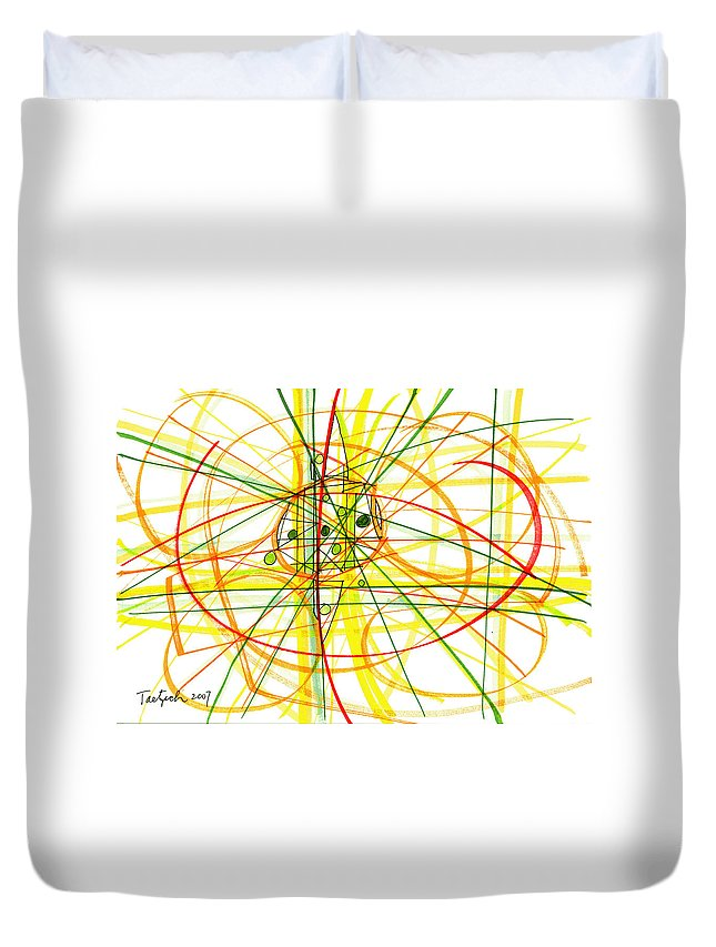 Modern Drawing Duvet Cover featuring the drawing Modern Drawing Thirteen by Lynne Taetzsch
