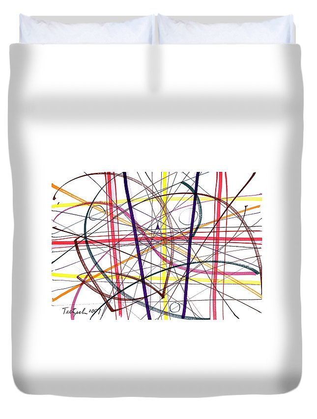 Modern Drawing Duvet Cover featuring the drawing Modern Drawing Twelve by Lynne Taetzsch