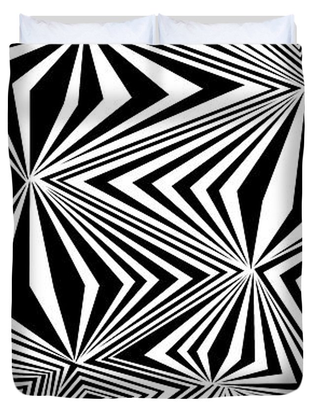 Dynamic Black And White Duvet Cover featuring the painting Modern Freaks by Douglas Christian Larsen