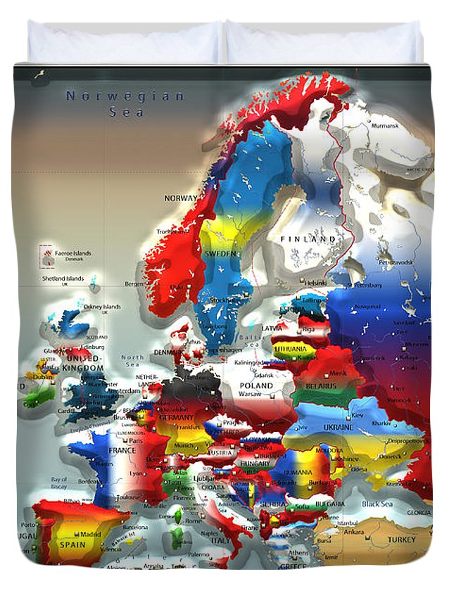 Maps - Cartography Of Past And Present Collection By Serge Averbukh Duvet Cover featuring the photograph Modern Portrait Of Modern Europe - 3d by Serge Averbukh