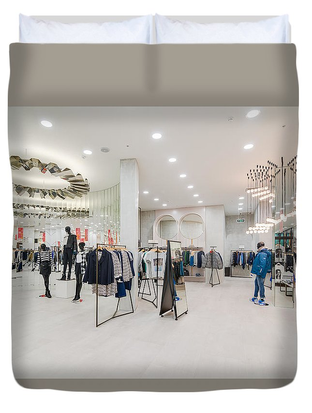 Moscow Duvet Cover featuring the photograph Modern Store by Nikita Buida