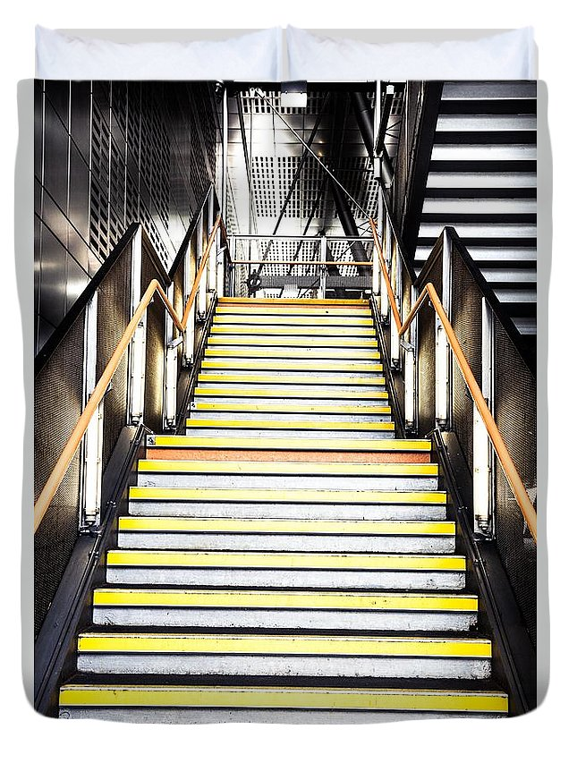 Steps Duvet Cover featuring the photograph Modern Subway Steps In London Canary Wharf District by Leonardo Patrizi