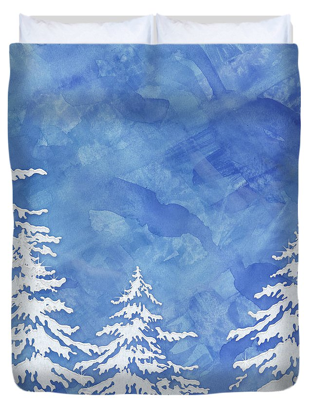 Watercolor Duvet Cover featuring the painting Modern Watercolor Winter Abstract - Snowy Trees by Audrey Jeanne Roberts
