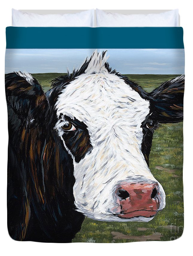 Cow Duvet Cover featuring the painting Mohawk Cow by Julie Ethridge
