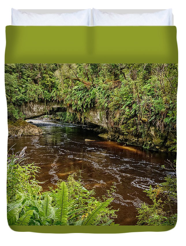 Karamea Duvet Cover featuring the photograph Moira Gate by Robert Green