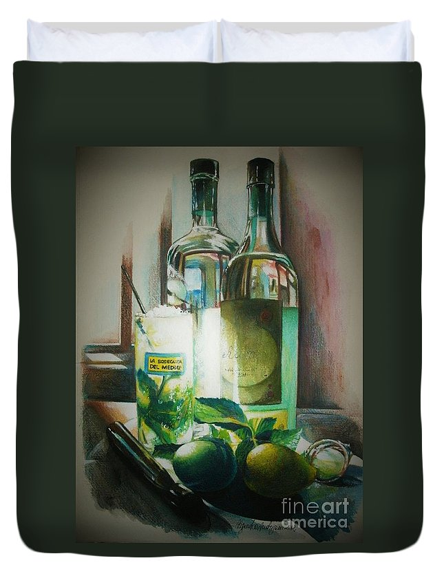 Bottles Duvet Cover featuring the painting Mojito by Alessandra Andrisani