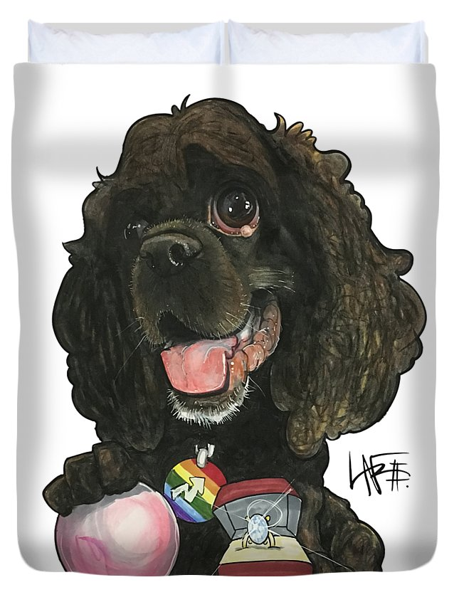 Pet Portrait Duvet Cover featuring the drawing Molina 3397 by John LaFree