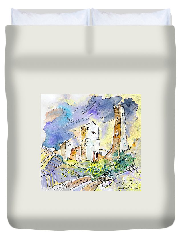 Travel Sketch Duvet Cover featuring the painting Molina De Aragon Spain 01 by Miki De Goodaboom