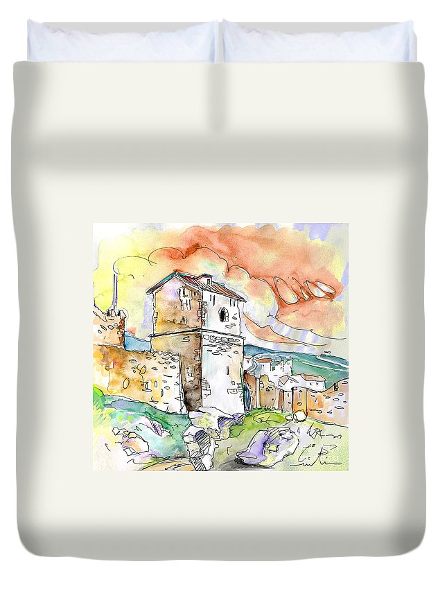 Travel Sketch Duvet Cover featuring the painting Molina De Aragon Spain 02 by Miki De Goodaboom