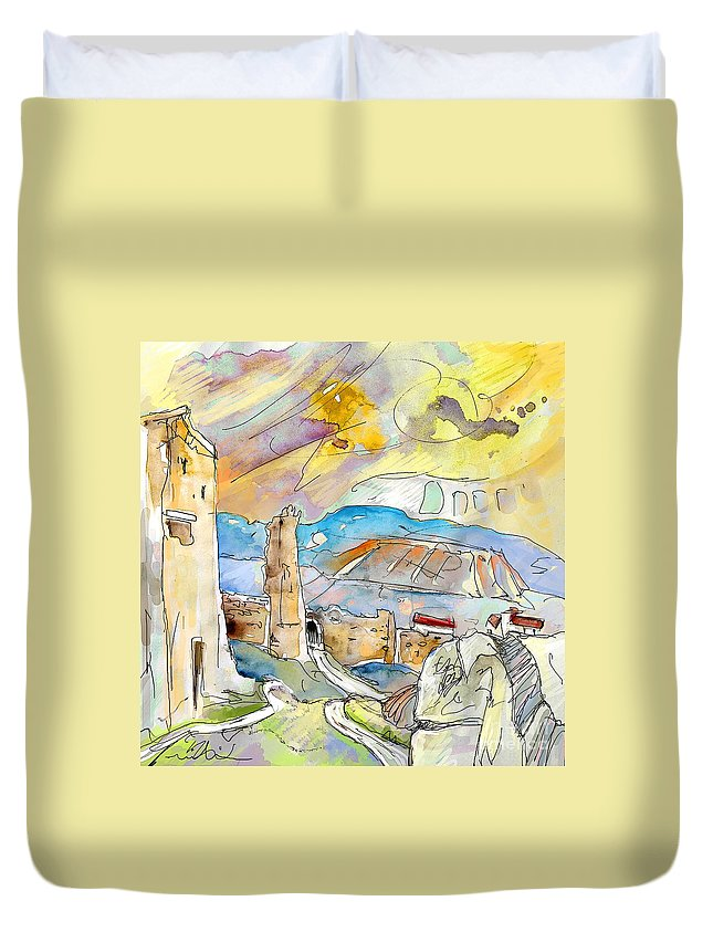 Travel Sketch Duvet Cover featuring the painting Molina De Aragon Spain 03 by Miki De Goodaboom