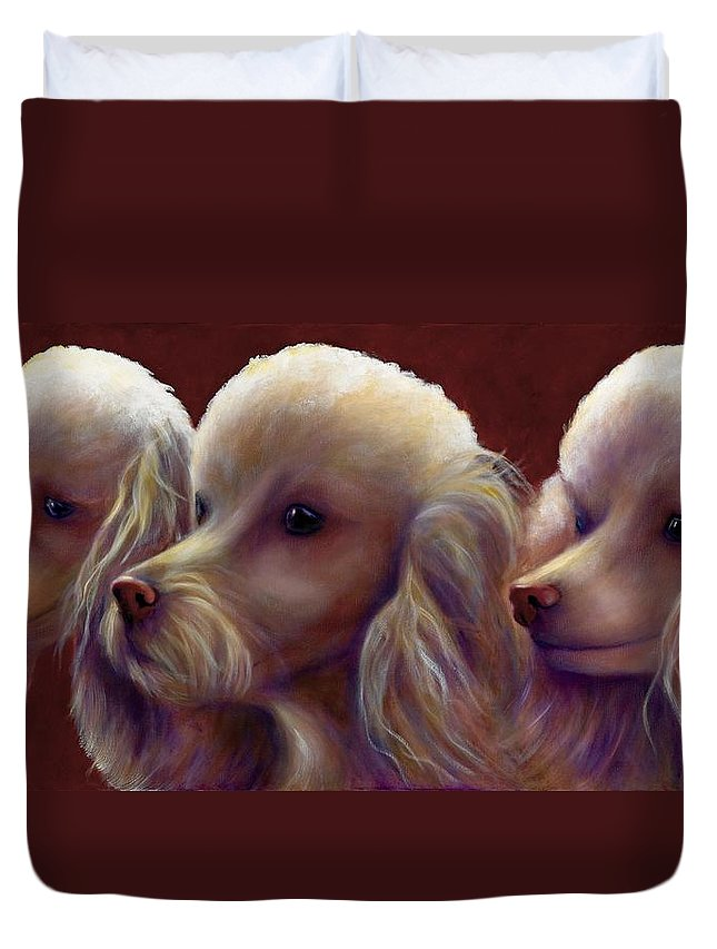 Dogs Duvet Cover featuring the painting Molly Charlie and Abby by Shannon Grissom