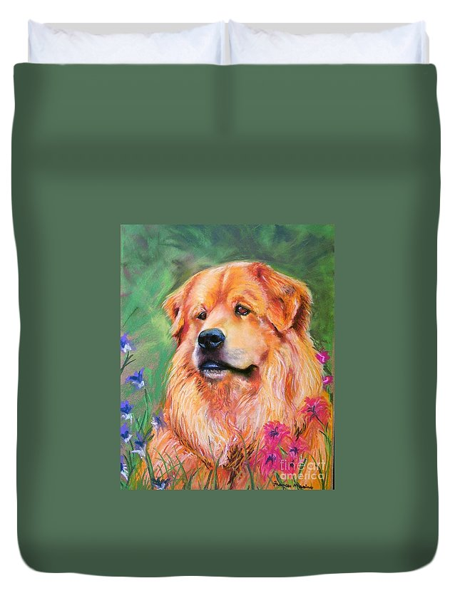 Chow Duvet Cover featuring the painting Molly by Frances Marino