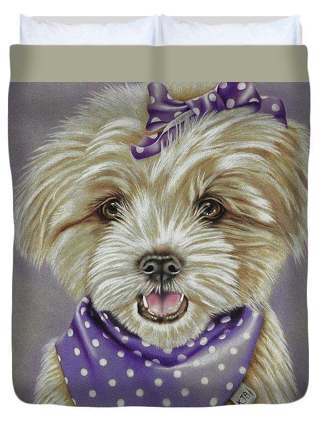 Dog Duvet Cover featuring the drawing Molly The Maltese by Karrie J Butler