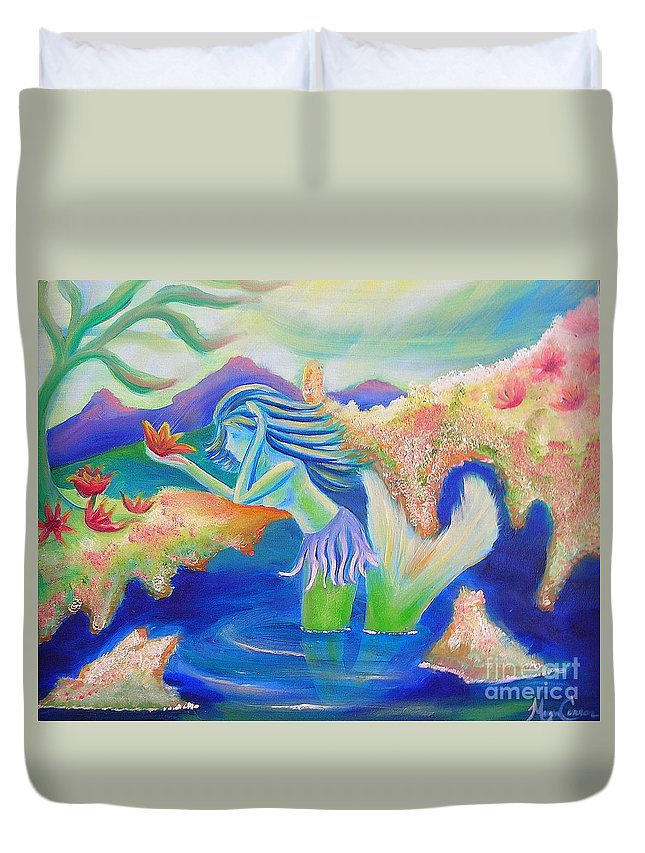 Mermaid Duvet Cover featuring the painting Molly Mermaid by Morgan Leshinsky