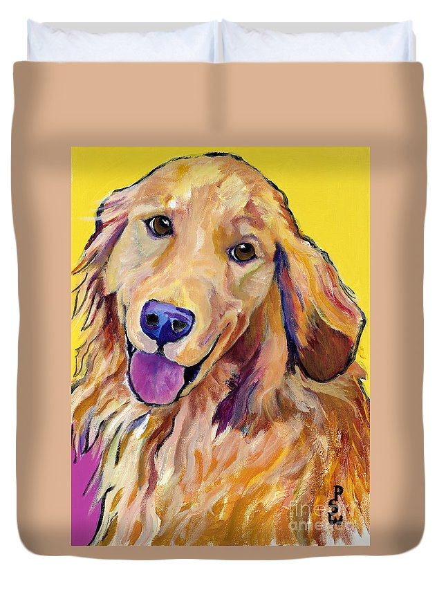 Acrylic Paintings Duvet Cover featuring the painting Molly by Pat Saunders-White
